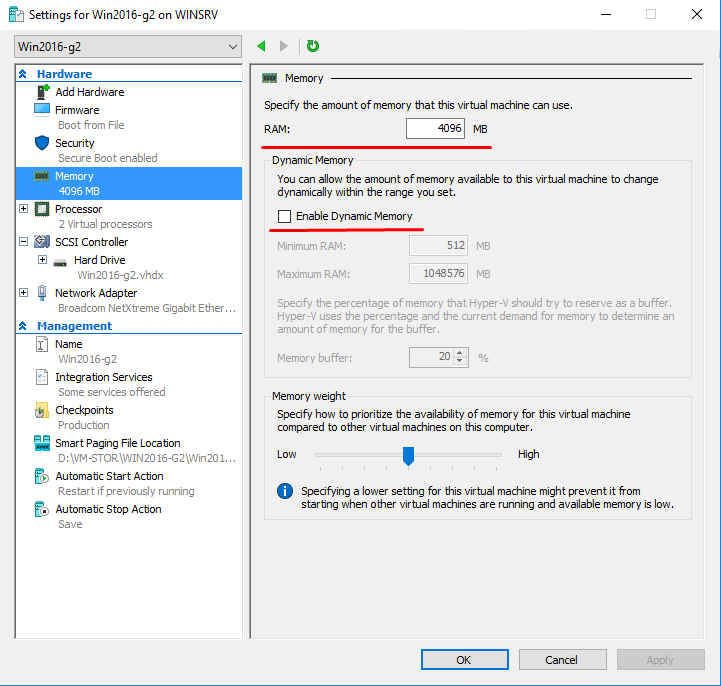 Settings for Win2016-g2 on WINSRV - Memory