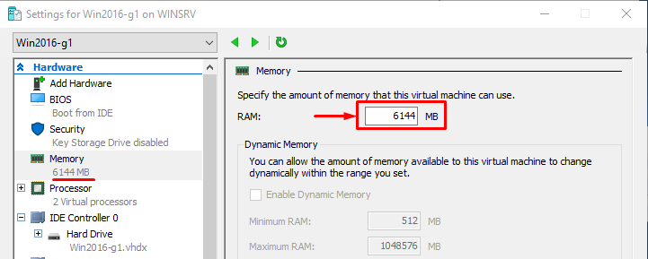 The given memory amount both with GUI and PowerShell on all OS