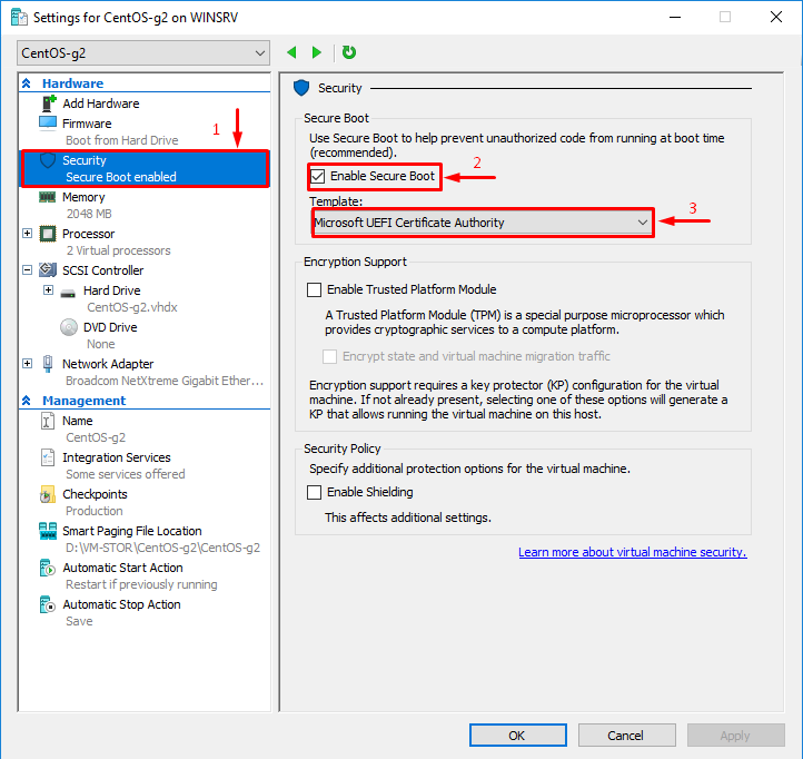 Settings for Win2016-g2 on WINSRV - Security