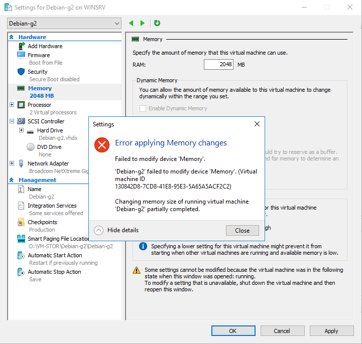 Settings for Win2016-g2 on WINSRV - Error