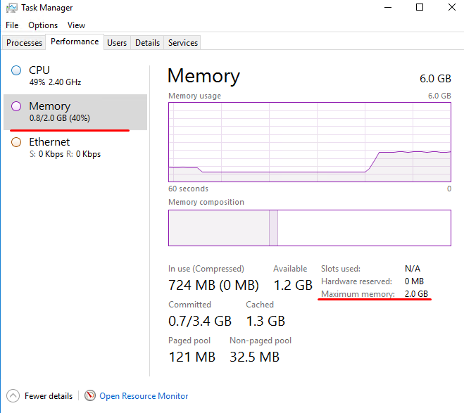 Windows - Task Manager - After reducing the memory to 2 GB