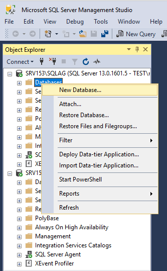 Create a new database.