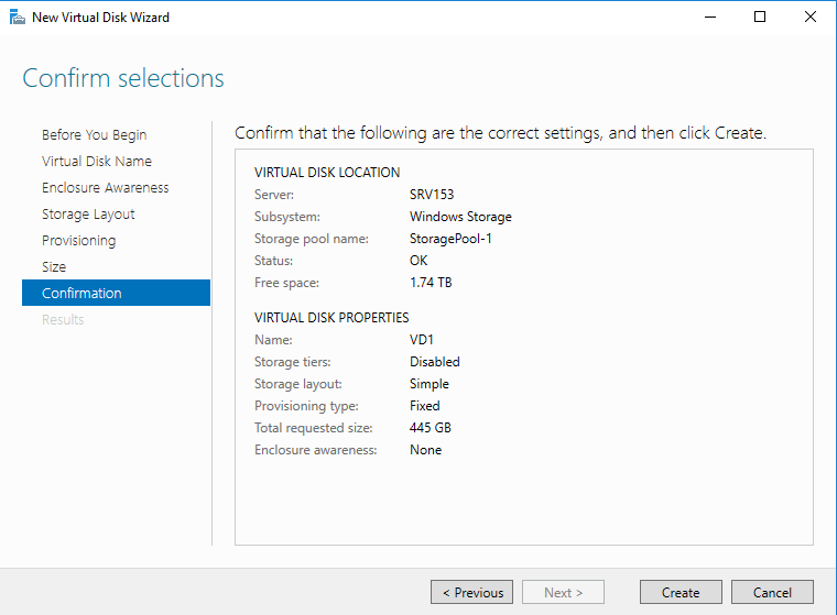 Confirm the virtual disk settings and click Create