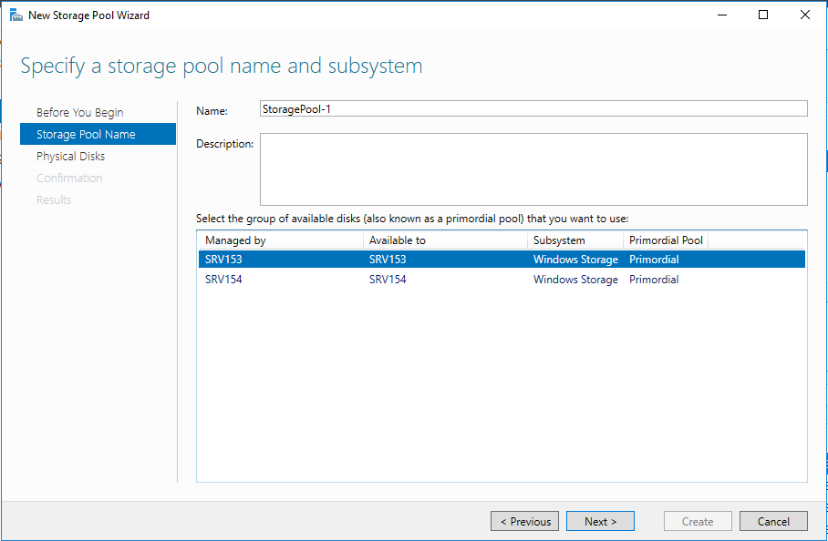 Select a node where you want to create the storage pool and enter the storage pool name