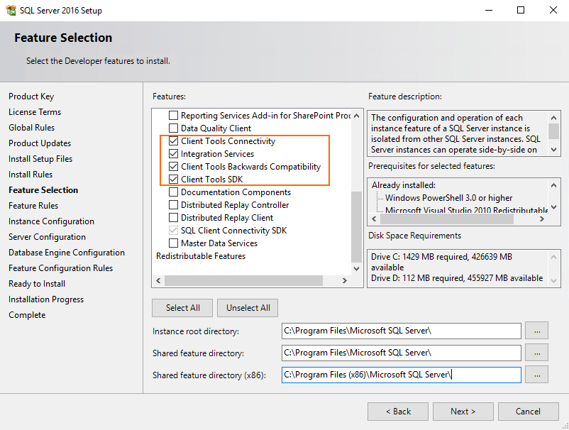 specify the path for SQL Server components installation