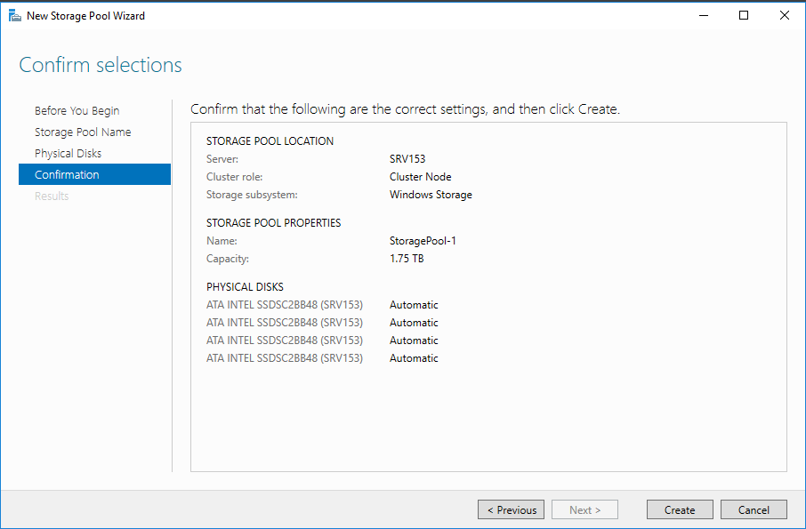 Verify the storage pool settings and click Create