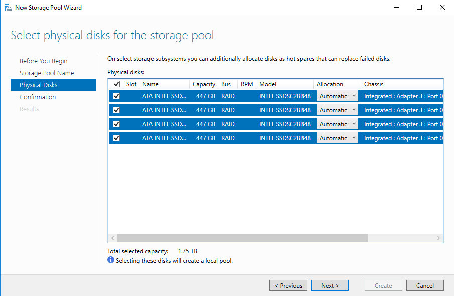 Select the disks which you want to include into the storage pool