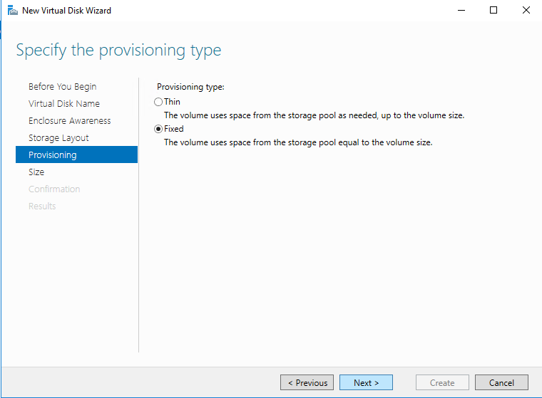 Specify the provisioning type