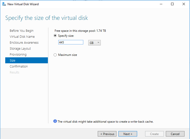 Specify the virtual disk size