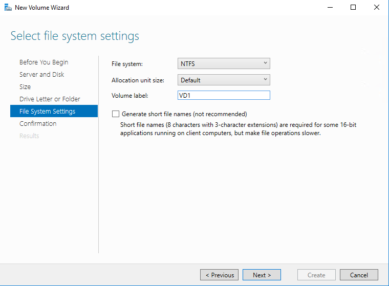 Choose the disk formatting and set the label