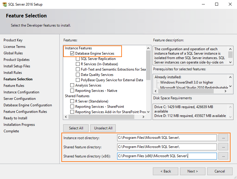SQL Server components installation