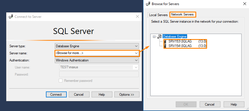 Connect all nodes to the SQL Server (SQLAG)