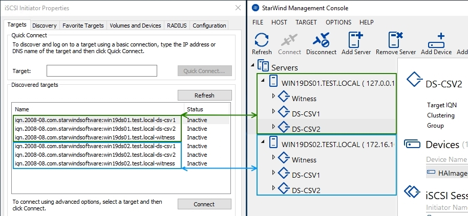 StarWind virtual device creation