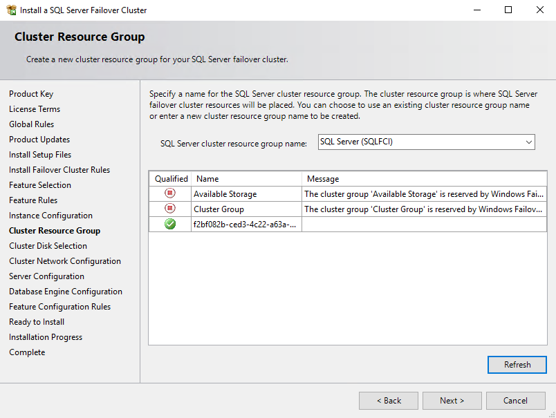 Select an automatically created SQL Server cluster resource group
