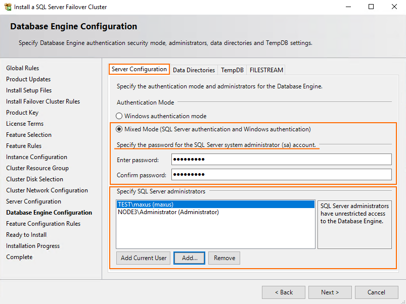 Authentication mode and enter the password for SQL Server system