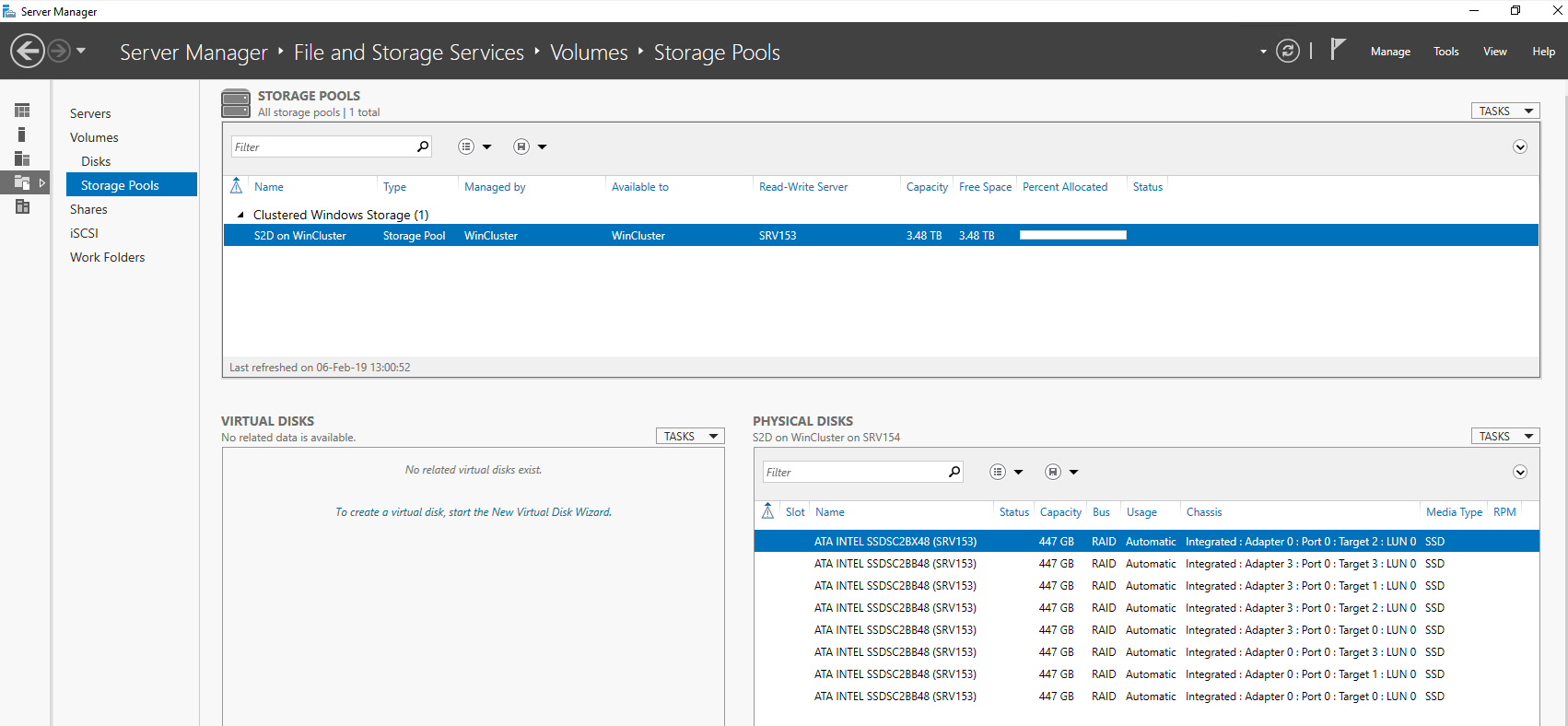 open Server Manager to make sure that pool creation has run smoothly