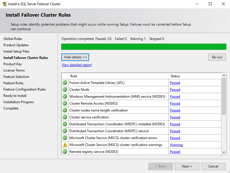 Press Next after failover cluster rules are successfully installed