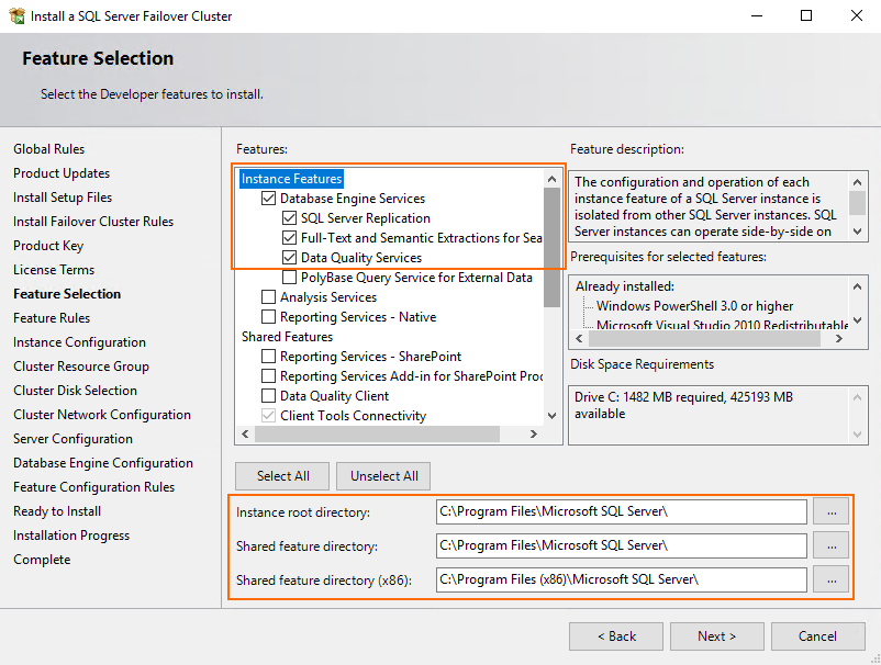 Select the necessary instance features