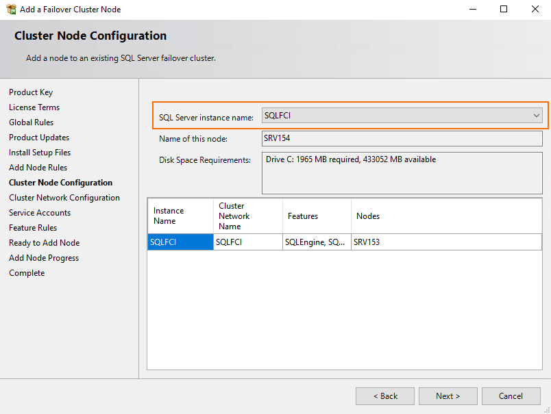 Cluster Node Configuration step, select the previously configured instance