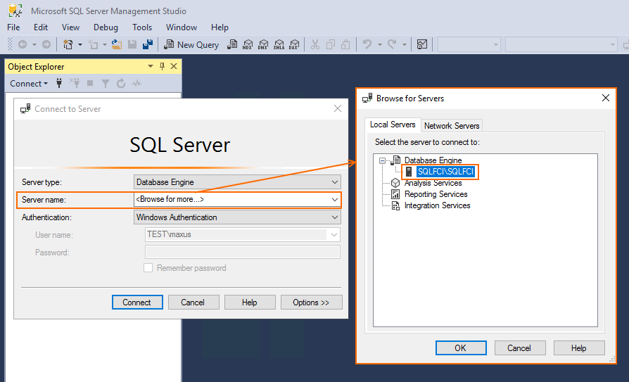 Install Microsoft SQL Server Management Studio on SRV154 and connect it to SQL Server FCI