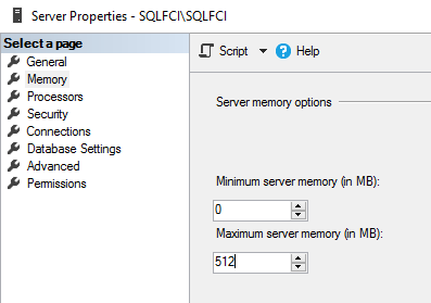 Reduce the maximum server memory to 512MB on both nodes