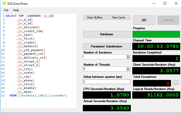 enter the Number of Iterations and Number of Threads parameter values