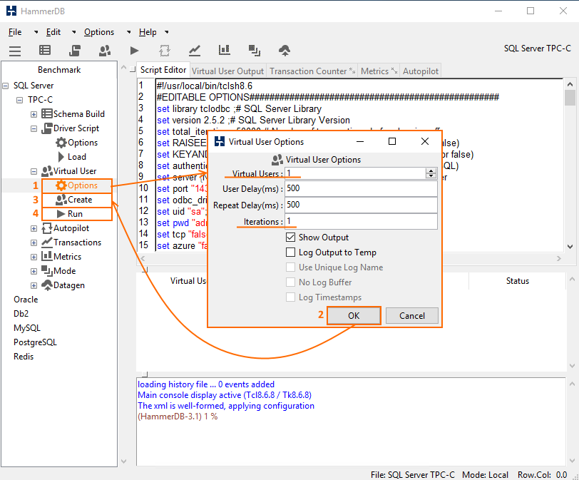 Specify the values for Virtual Users and Iterations parameters