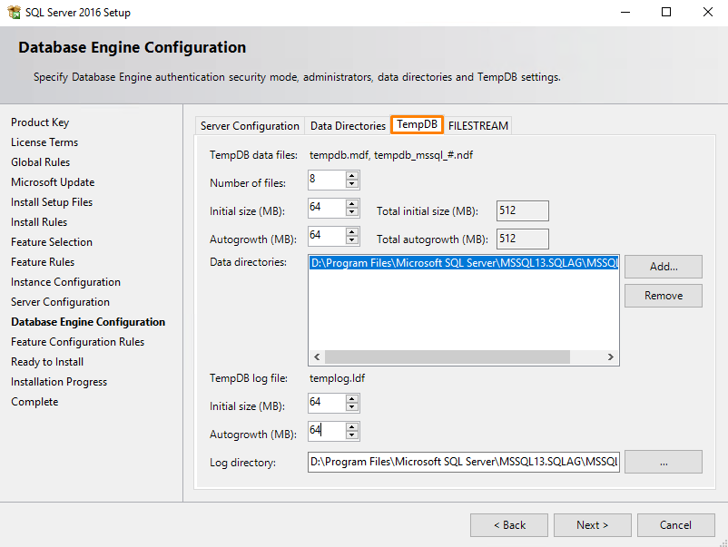 Specify TempDB settings
