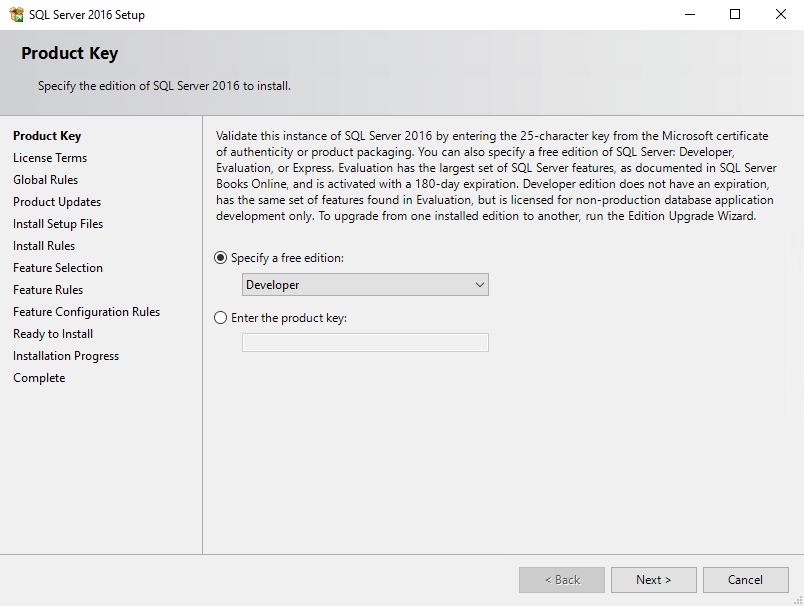 Specify the SQL Server edition that you want to install