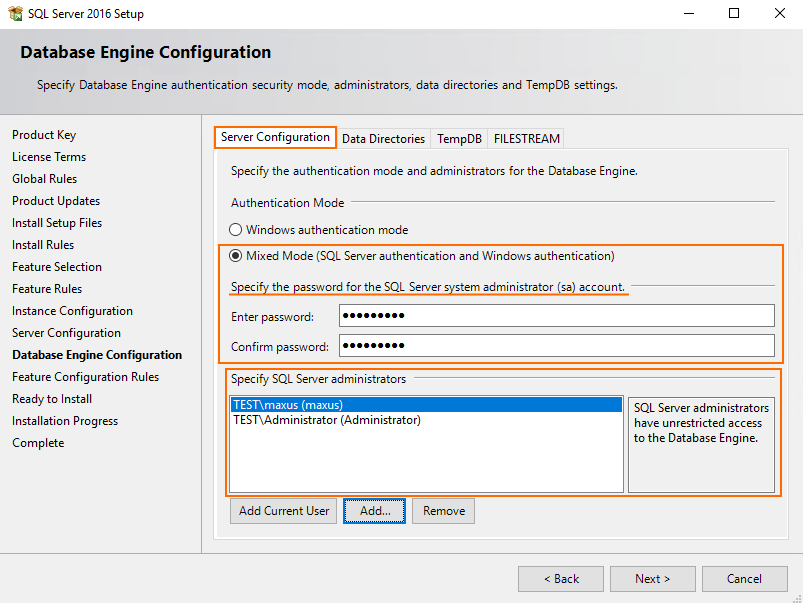Specify the authentication mode and administrators for Database Engine