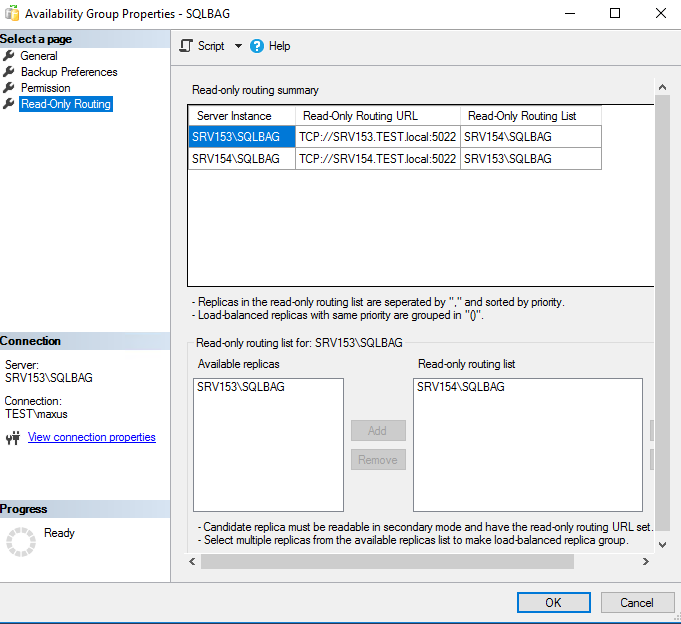 SQL Management Studio with the read-only routing