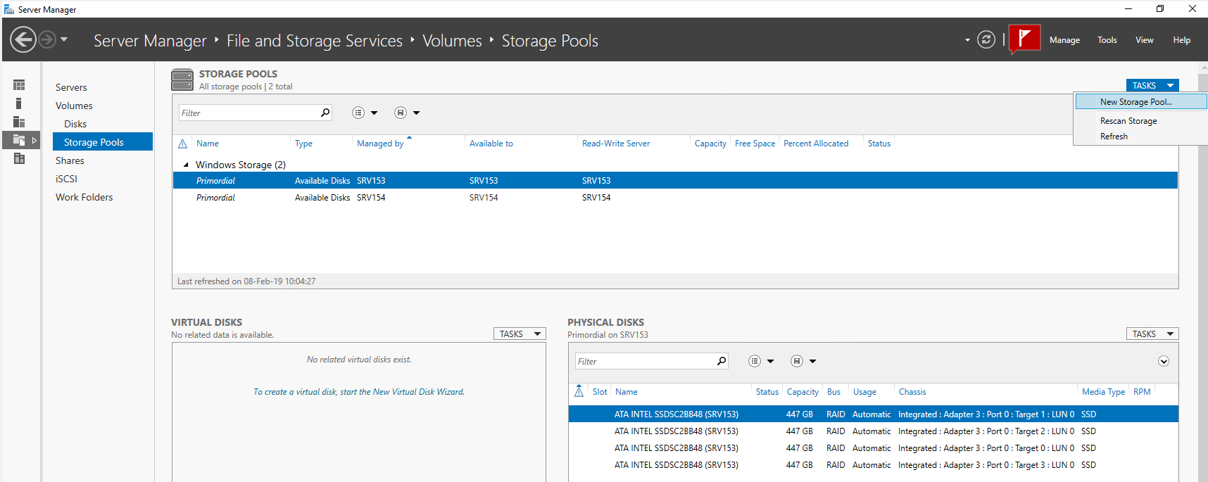Start the Storage Spaces installation wizard on SRV153
