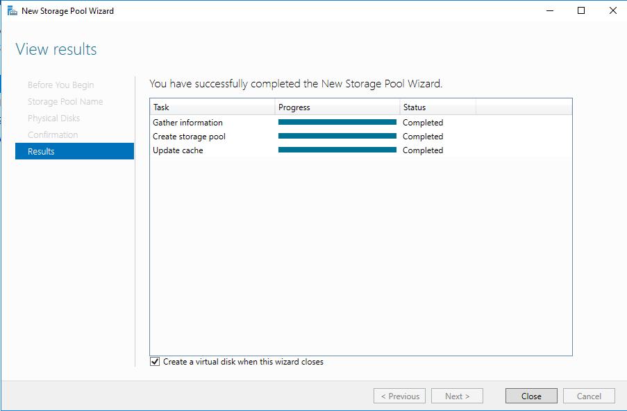 Create a virtual disk when this wizard closes