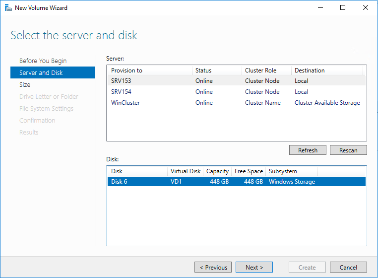 Select the recently created virtual disk in the New Volume wizard