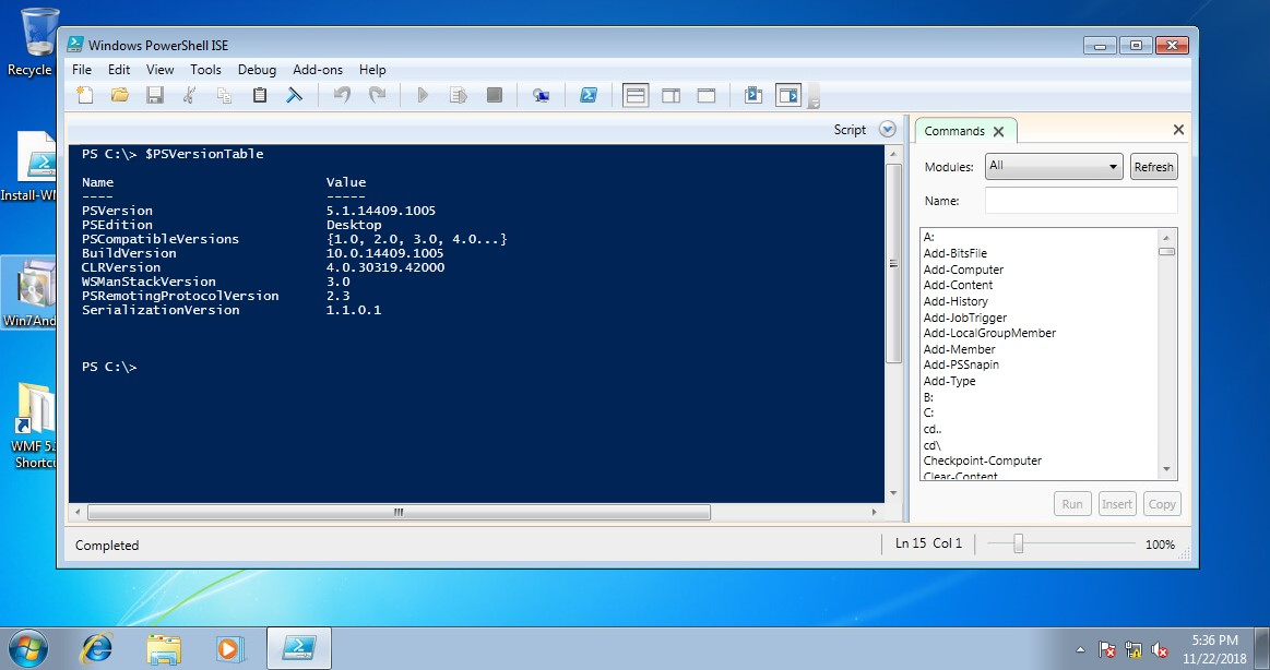 Updated PowerShell on Windows 7