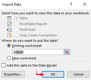 Choose where do you want to put the data