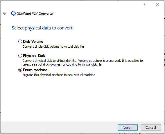 Select physical data to convert