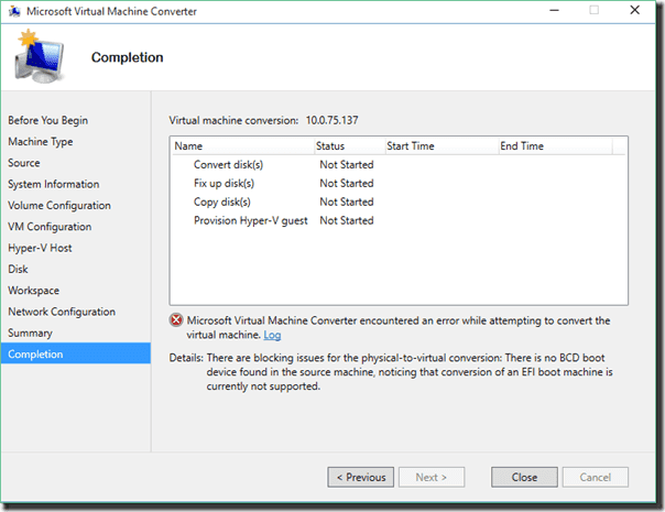VM with the connected VHD disk