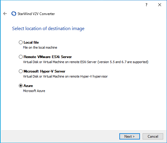 Select Azure as the location