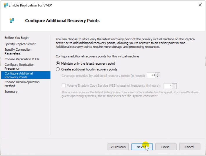 Configure Additional Recovery Points