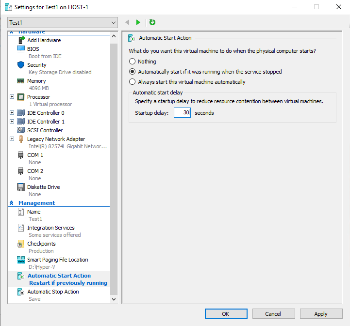 The VM can be configured to start automatically